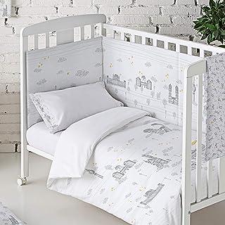 Eiffel Textile Baby Protector Cuna Acolchado. Chichonera bebe. 100% Algodón. Calidad Diseño Infantil. Tamaños 60 x 120 cm y 70 x 140 cm. Estampado. Regalo Funda Cojín. Alemania Color Gris