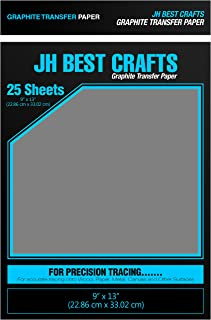 JH-BestCrafts Graphite Transfer Carbon Tracing Paper, 9 x 13 Inches, 25 Sheets