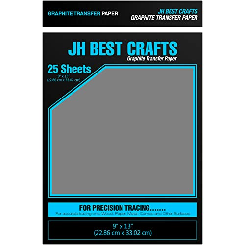 25 Sheets JH-BestCrafts Graphite Transfer Carbon Tracing Paper 9 x 13 Inches