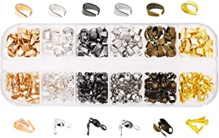 Mandala Crafts Metal Pinch Bail, Pendant Connector, Dangle Charm Clasp Clip for Jewelry Making; 270 PCs Finding Kit (Assorted Colors, 6 X 8mm)