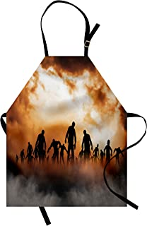 Ambesonne Halloween Apron, Zombies Dead Men Walking Body in The Doom Mist at Night Sky Haunted Theme Print, Unisex Kitchen Bib with Adjustable Neck for Cooking Gardening, Adult Size, Orange Black