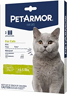 PetArmor for Cats, Flea & Tick Treatment for Cats (Over 1.5 Pounds), Includes 3 Month Supply of Topical Flea Treatments