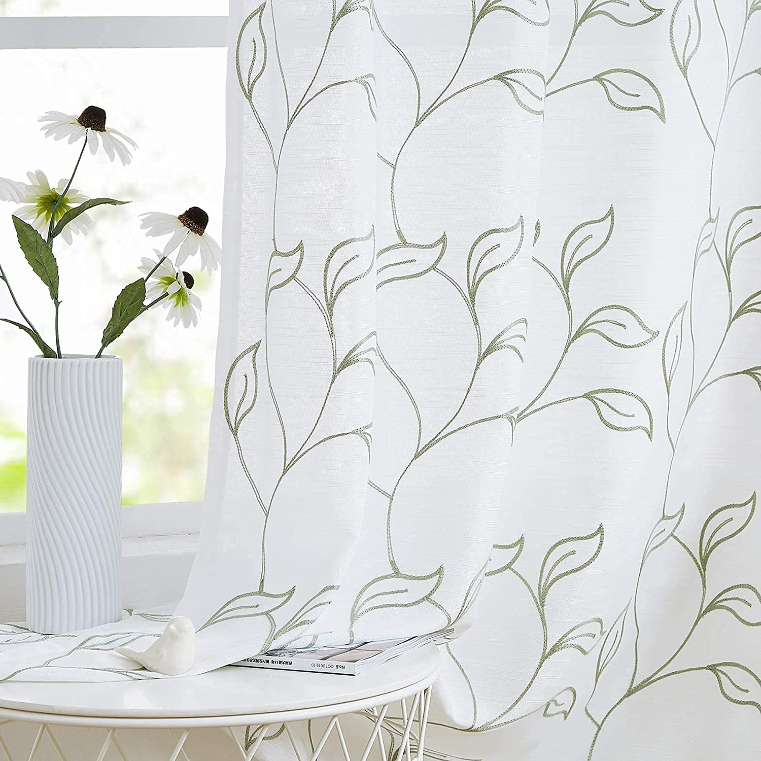 Green White Embroidery Large-scale sale Max 61% OFF Sheer Curtains 84