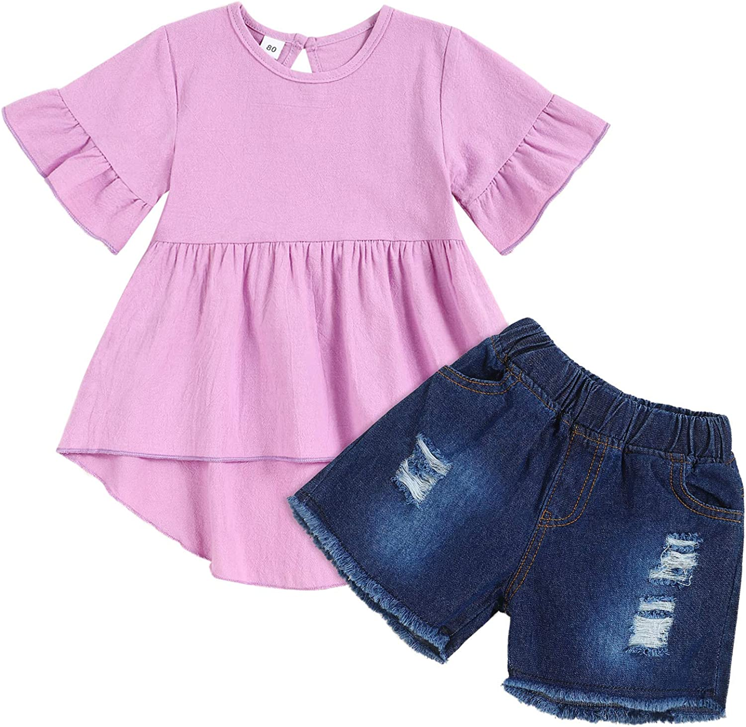 Toddler Baby Girl Clothes Cotton Linen Dress Top Short Ripped Jeans 2pcs Girl Summer Outfit Sets Purple