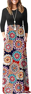 Women's Long Sleeve Loose Plain Maxi Dresses Casual Long Dresses Wite Pockets