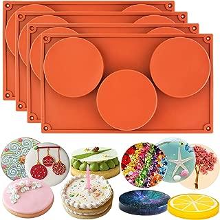 Funshowcase 3-Cavity Large Round Disc Candy Silicone Molds 4-Bundle
