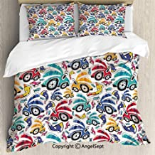 3 Piece Duvet Cover Set, Set Duvet Cover Set, Soft Microfiber Bedding Set,Vintage Cartoon Like Rainbow Vivid Colorful Cars For Kids Nursery Room Print,Twin Size,Breathable,Not easy to fade,Multicolo