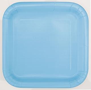 Powder Blue Solid Square 7 inch Dessert Plates, 16ct, Unisex