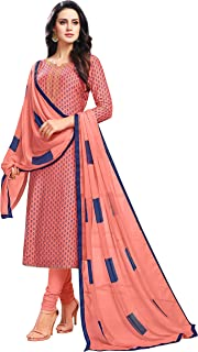 Rajnandini Women's Peach chanderi silk Printed Semi-Stitched Salwar Suit Material With Printed Dupatta (Free Size)