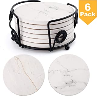 """LotFancy Coasters for Drinks Absorbent with Holder, 6PCS 4"""" Round Ceramic Coasters with Cork Base, Non-Slip, Marble Pattern Surface, Housewarming Man Cave Bar Decor Hostess Gifts"""