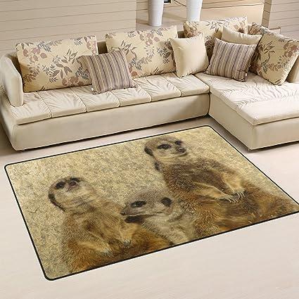 Use7 Vintage Animal Meerkat Area Rug Rugs Non Slip Floor Mat Doormats Living Room Bedroom 100 X 150 Cm 3 X 5 Ft Amazon Co Uk Kitchen Home