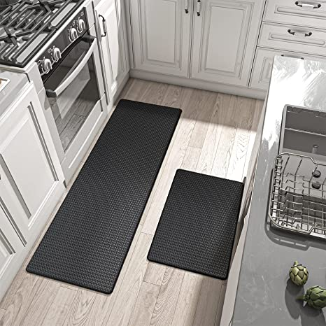 Amazon Com Dexi Kitchen Rugs And Mats Cushioned Anti Fatigue Comfort Runner Mat For Floor Rug Standing Rugs Set Of 2 17 X29 17 X59 Black Kitchen Dining