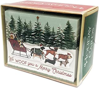 We Woof you a Merry Christmas Festive Multi Dog Breeds on Santa's Sleigh Embellished Box of 18 Christmas Holiday Greeting Cards & Coordinating Envelopes
