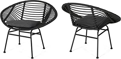 Christopher Knight Home Aleah Indoor Woven Faux Rattan Chairs with Cushions (Set of 2), Dark Gray Finish