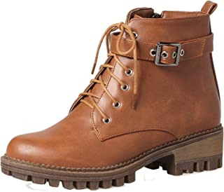 7efa6e76 AgeeMi Shoes Mujer Puntera Cerrada Cordones Mini Tacón PU Tacón Grueso Boots