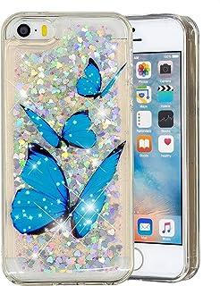fcd044871ab HopMore Compatible para Funda iPhone 5S / SE / 5 Silicona 3D Glitter  Liquido Brillante Purpurina
