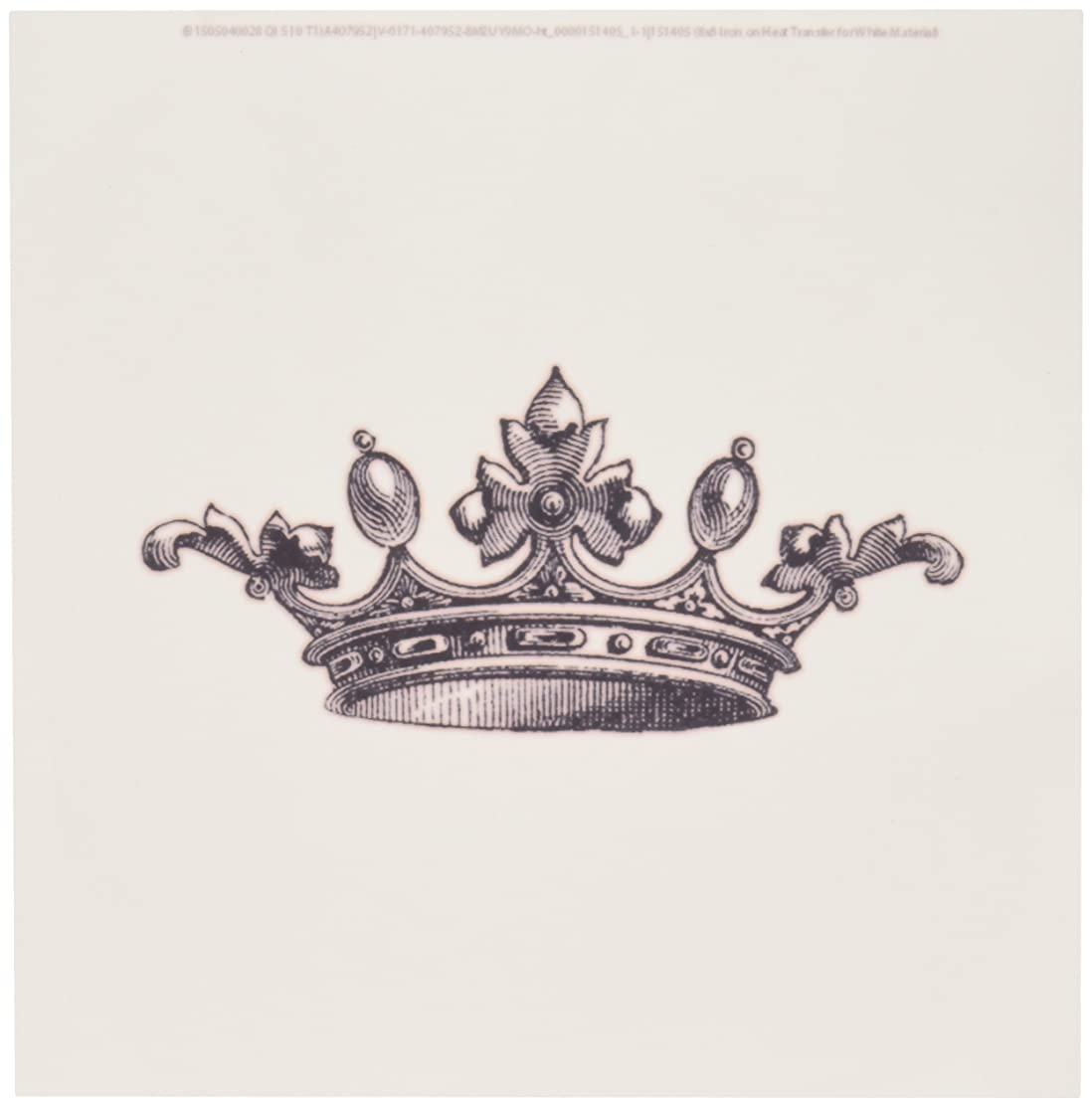 3dRose ht_151405_1 Majestic Crown Black and White-Royal Tiara-Like Crown-Vintage Art-Iron on Heat Transfer for White Material, 8 by 8-Inch