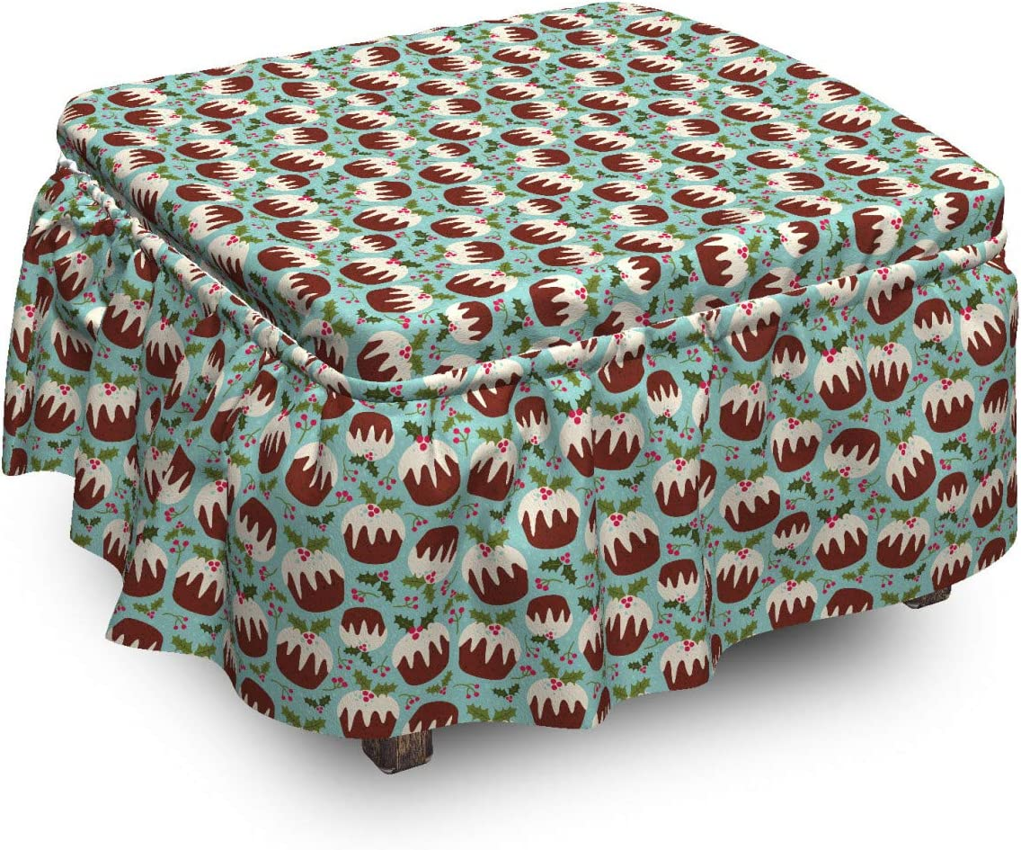 Lunarable Cupcake Ottoman Cover Christmas Quantity limited Berries Piec 2 Ranking TOP19 Cakes