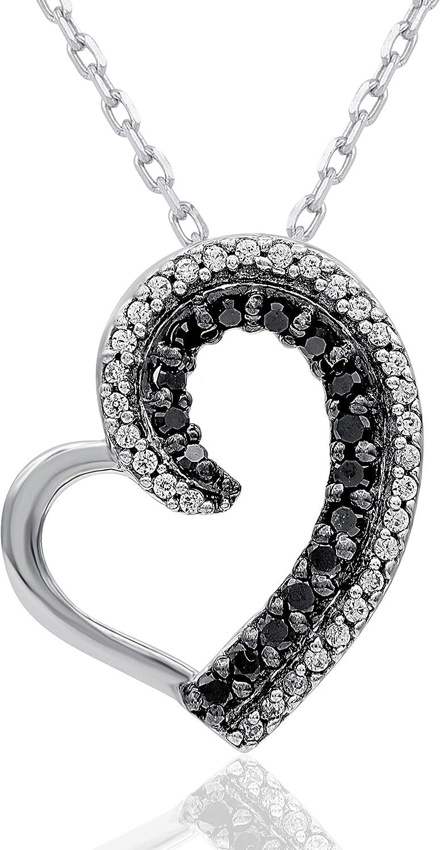 購買 TJD 1 6 Carat Natural White Diamond Heart Shap 大好評です Treated Black and