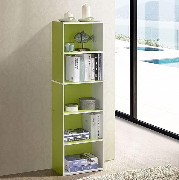 Fortress 5 Tier Reversible Color Open Shelf Bookcase Green White