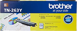 Brother TN-263Y ASA Original Toner Cartridge Compatible with DCN/HL/MFC, 1300 Pages, Yellow