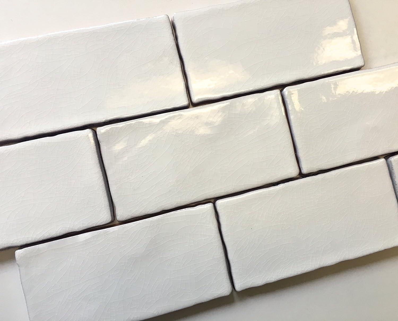 3x6 White Nashville-Davidson Mall trend rank Crackled Ceramic Subway Wall Backsplash Tile