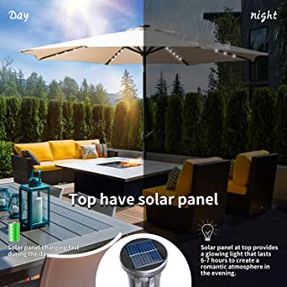 KOOLWOOM 10ft Solar LED Lighted Patio Umbrella with Crank and Manual Tilt,Outdoor Umbrella with Fade Resistant Water Proof Fabric and Push Button,Without Base (Beige)