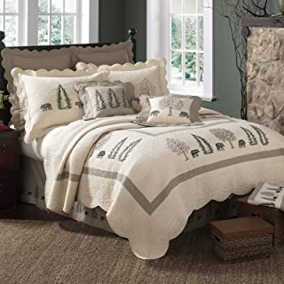 Full/Queen Quilt - Bear Creek by Donna Sharp - Lodge Quilt with Bear Pattern - Fits Queen Size and Full Size Beds - Machine Washable