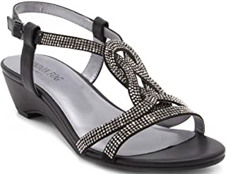 London Fog Womens Macey Demi-Wedge Dress Sandals