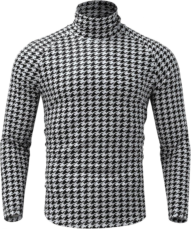 Huangse Mens Casual Long Sleeve Slim Fit T-Shirt Autumn Fashion Turtleneck Plaid Tee Shirt Stylish Houndstooth Blouse