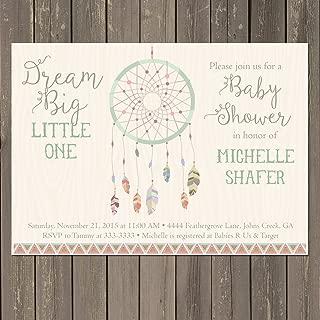 Dreamcatcher Baby Shower Invitation, Dream Catcher Tribal Boho Shower Invite, Feather Baby Shower, Bohemian Themed Invitation, Gender neutral