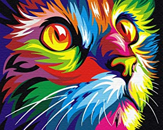 No Framed Diy Oil Painting Paint By Number Home Decor Wall Picture Value Gift-Colorful kitten 16x20 inch