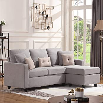 HONBAY Convertible Sectional Sofa Couch, L-Shaped Couch with Modern Linen Fabric for Small Space Light Grey