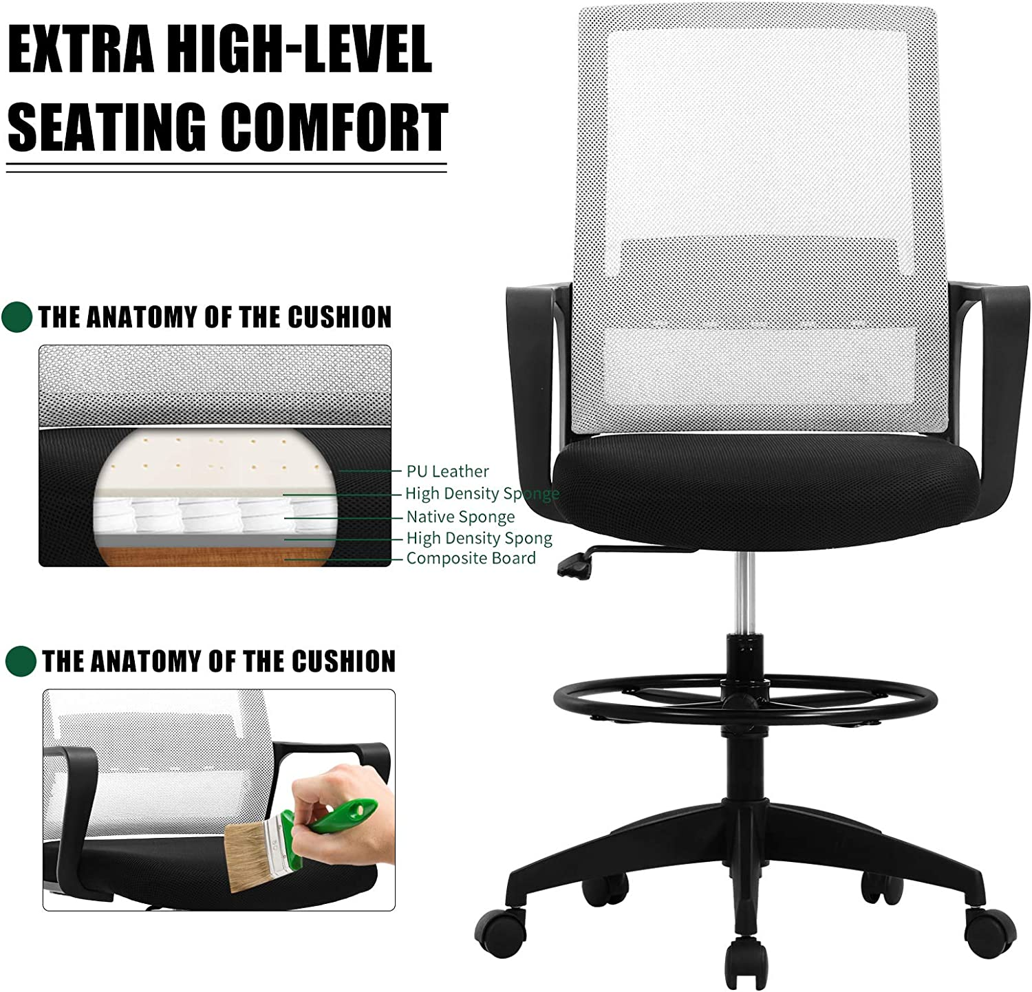 Ergonomic Tall Office Chair with Flip Up Arms Foot Tall Office Chair for Standing Desk Bar High Desk Swivel Rolling Executive Chair Adjustable Height Mesh Drafting Stool US/Stock Drafting Chair