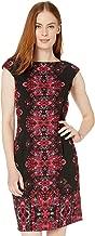 London Times Jewel Box Cap Sleeve Crepe Dress Black/Pink 12