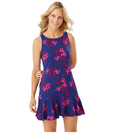 Tommy Bahama Oasis Blossoms High Neck Flounce Spa Dress Cover-Up (Blue Sapphire) Women