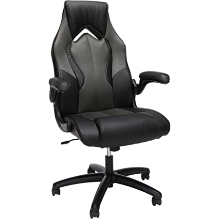 OFM ESS Collection High-Back Racing Style Bonded Leather Gaming Chair, in Gray (ESS-3086-GRY)