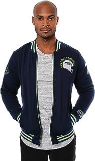 Ultra Game NFL Men`s Full Zip Fleece Vintage Letterman Varsity Jacket