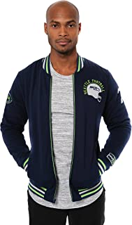 Ultra Game NFL Men's Full Zip Fleece Vintage Letterman Varsity Jacket