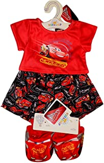 Build A Bear Cars Lightning McQueen PJs with Rust-eze Slippers 3 pc. Teddy Size Outfit