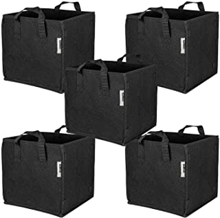 iPower GLGROWBAGCUBIC3X5 5 Pack 3 Gallon Square Grow Bags Thick Fabric Planting Pots with Handles for Indoor and Outdoor G...