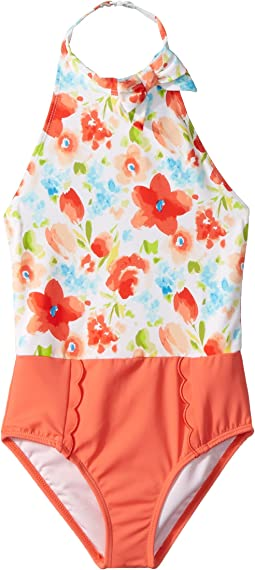 Floral Color Block One-Piece Swimsuit (Toddler/Little Kids/Big Kids)
