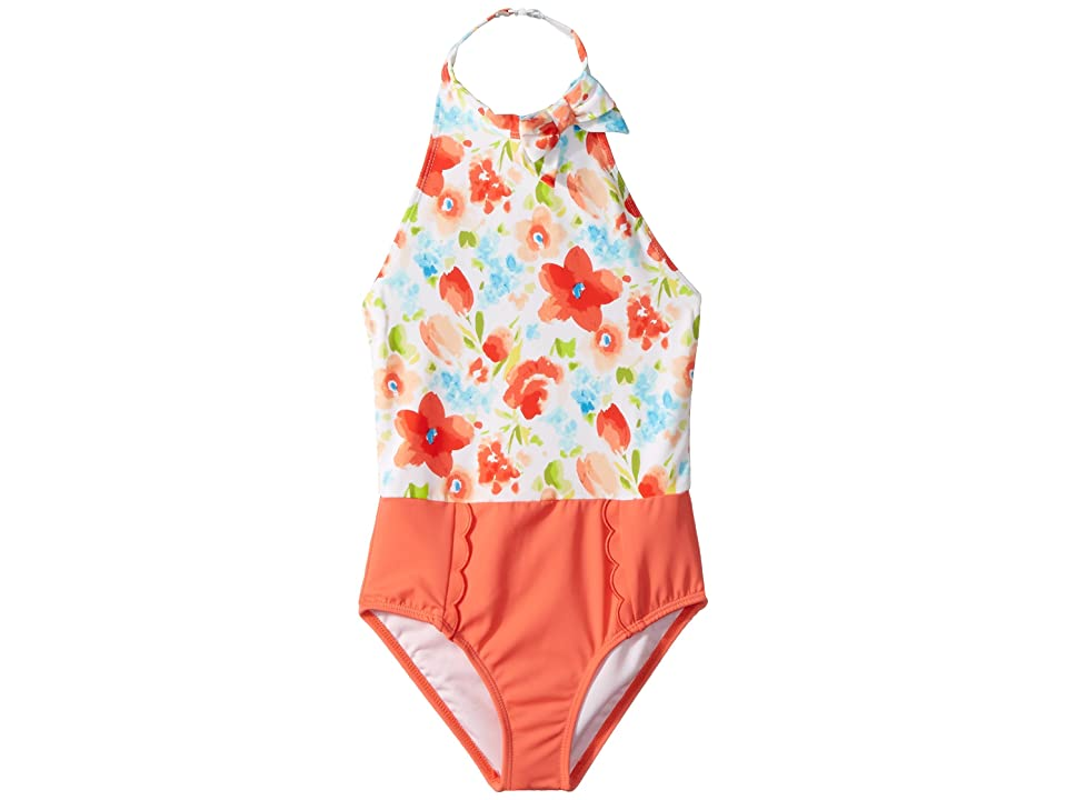 Janie and Jack Floral Color Block One-Piece Swimsuit (Toddler/Little Kids/Big Kids) (Candy Red Floral) Girl