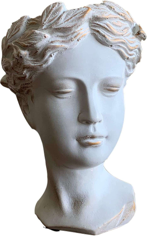 Jasmin Décor Greek/Roman Style Female Planter, Gray Gold (8.3