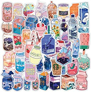 50PCS Summer Cute Flavored Drink Stickers PVC Kawaii Cartoon Beverage Decal Sticker for Girl DIY Laptop Stationery
