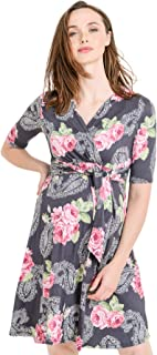 aec824da34 Hello MIZ Women s Floral Faux Wrap Side Tie Nursing and Maternity Dress