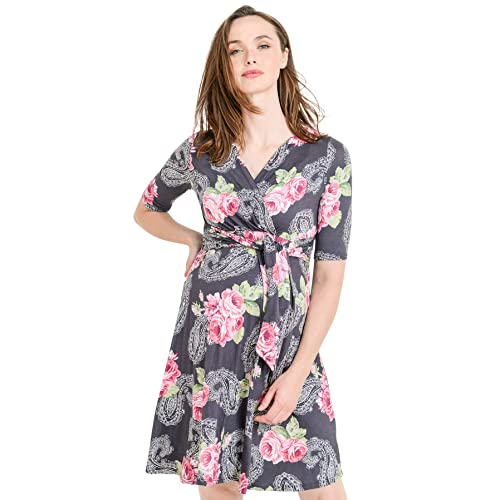 a41a03470e170 Hello MIZ Women's Floral Faux Wrap Side Tie Nursing and Maternity Dress