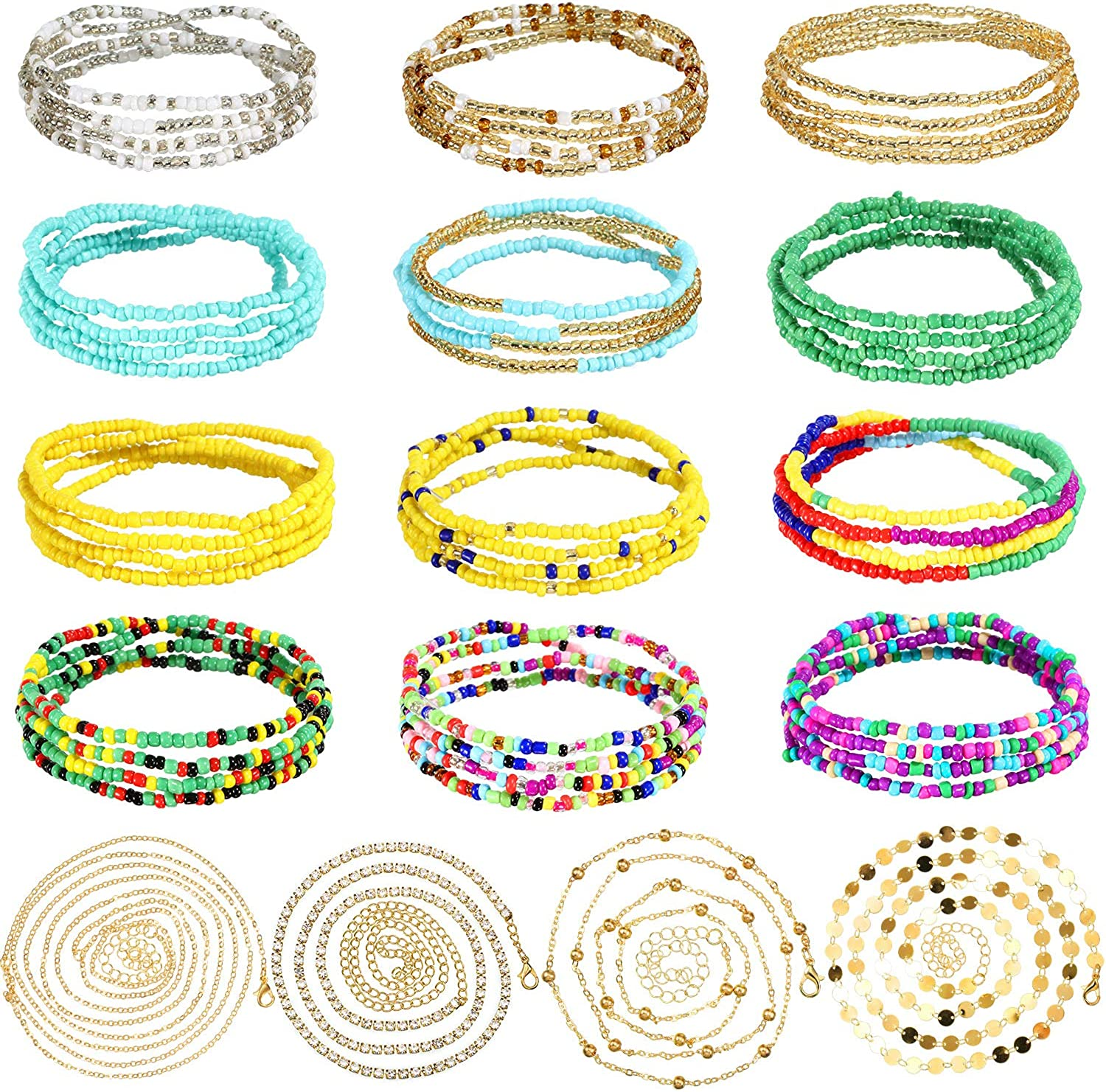 16 Pieces Waist Bead Chains Summer Elastic African Belly Beads Bikini Beach Body Belly Chain Colorful Jewelry for Women