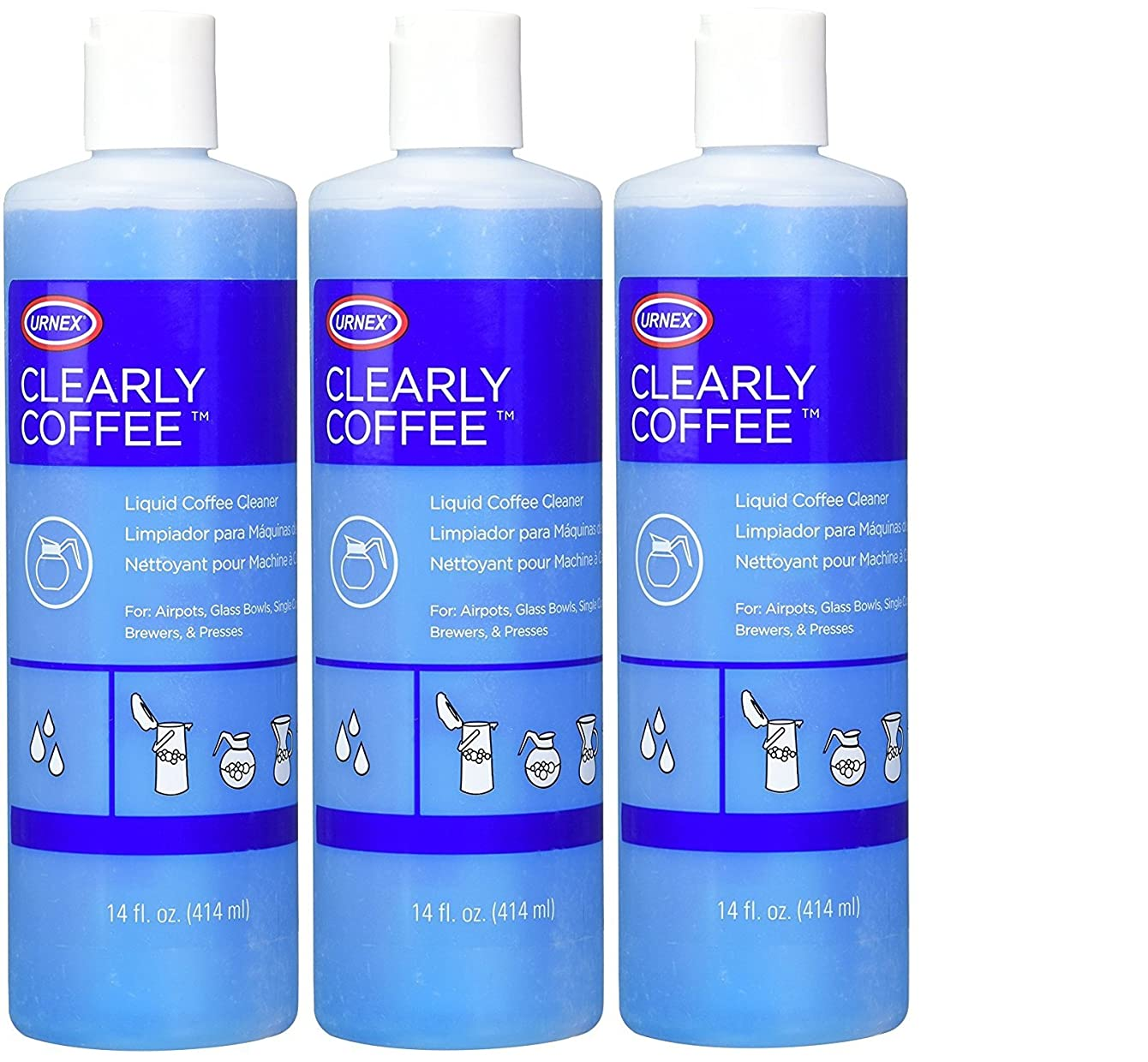 Urnex Clearly Coffee Pot Cleaner - 3 Pack - [Made in The USA] - French Press Liquid Cleaner for Glass Bowls Airpots Satellite Brewers and Thermal Servers Removes Coffee Oils