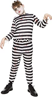 Bloody Zombie Convict Costume - Halloween Kids Scary Jail Prison Escapee